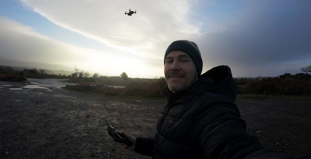 Zac with his drone on Dartmoor