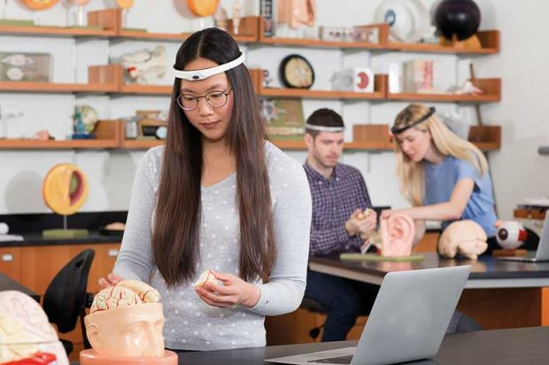 Engagement? - Students wearing head-mounted brain monitoring devices