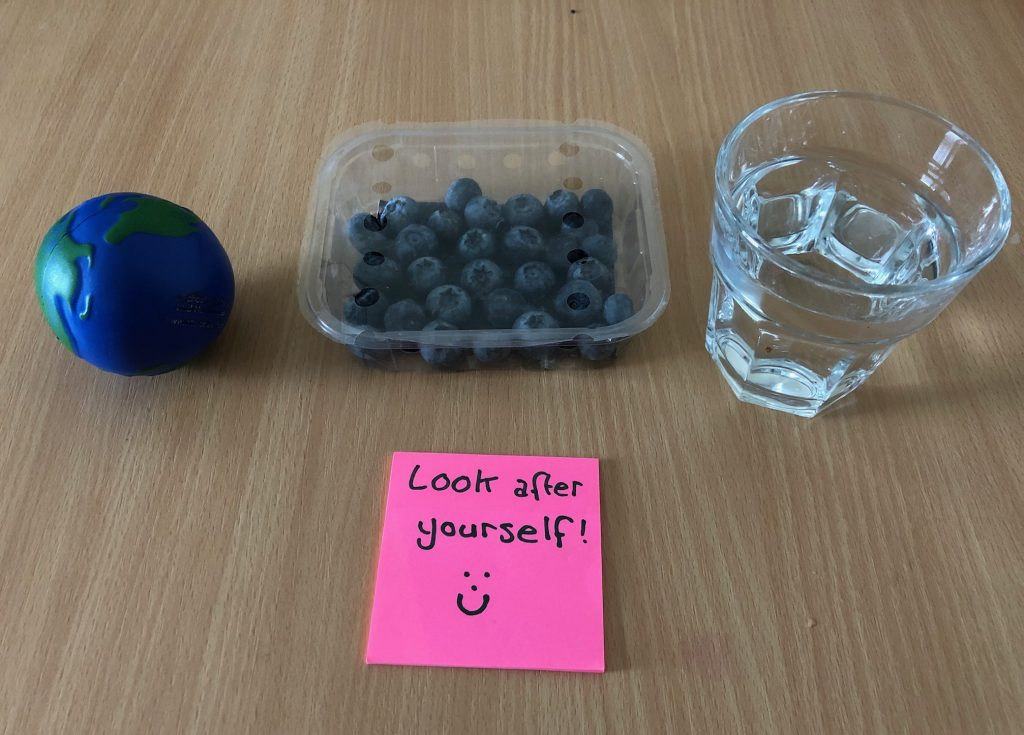 Photo of a stess ball, blueberries and a glass of water
