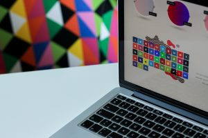 Patterns and colours on a laptop screen