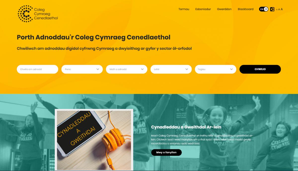 Home page of the Coleg Cymraeg Cenedlaethol