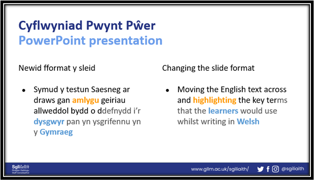 Example of a PowerPoint slide with Welsh terms and their translations highlighted