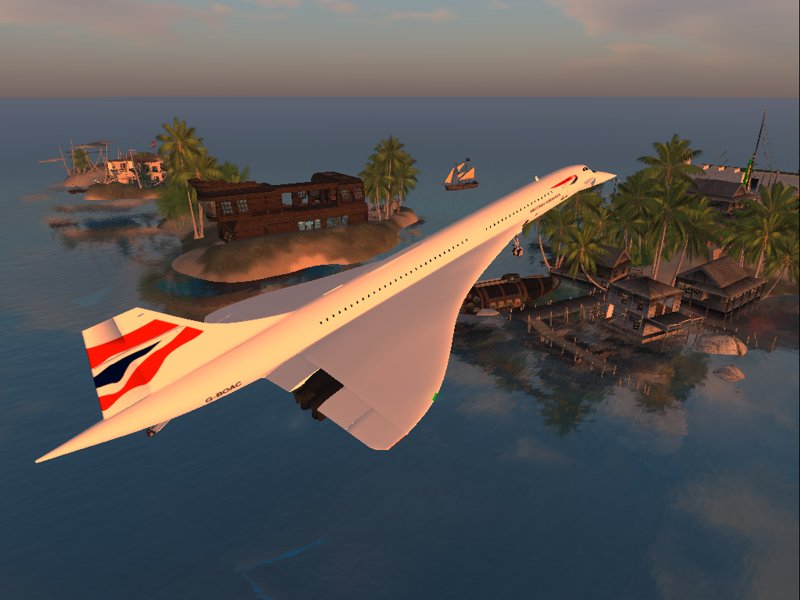 Picture of a Second Life landscape with a plane flying over an island